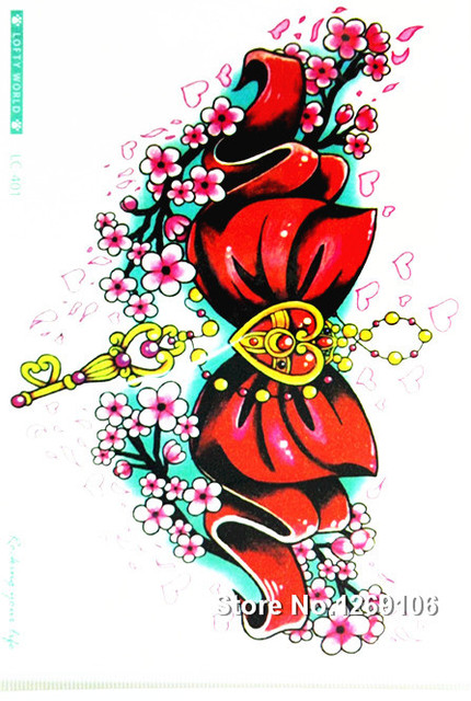 Design Cute Red Bow 21x15cm Waterproof Temporary Tattoo Stickers