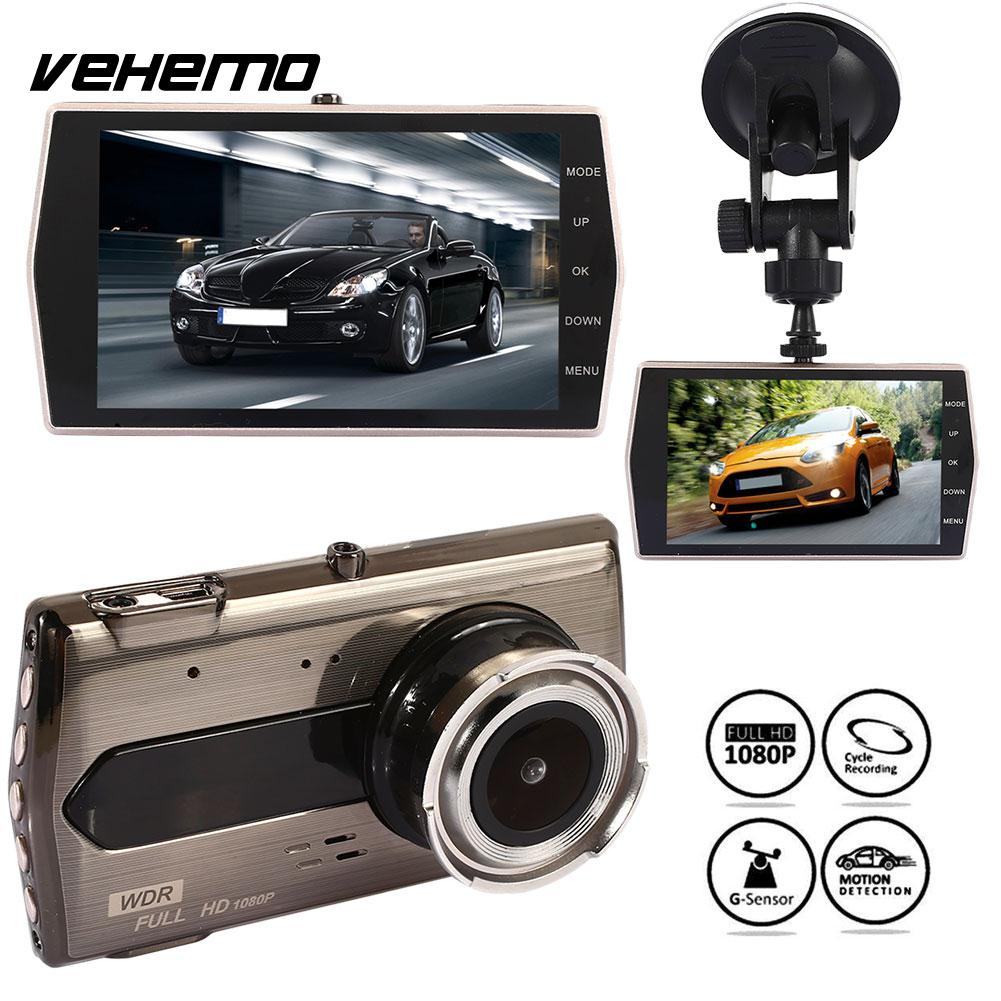 Vehemo Rearview Mirror Car DVR Dash Cam Driving Recorder HD1080P 4 Inch Durable Automobile Night Vision Auto On/Off G-Gensor