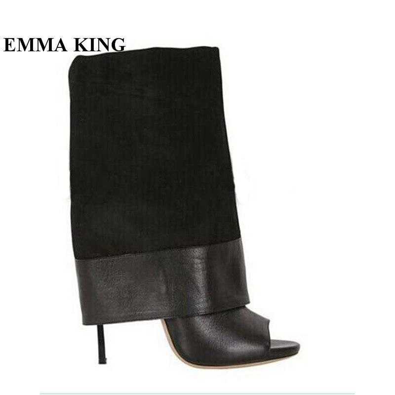 Mode tendance haute qualité couverture mi-mollet femmes bottes poisson bouche mince talons hauts sandales bottes Mujer Party Catwalk chaussures femmes