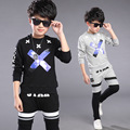Spring Kids Clothes  Black Gray Long Sleeve Pullover Letter Sports Suit  Hot Sale New 2016 Casual Boys Clothing Set 2 Color