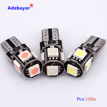 100 pcs T10 194 W5W 5 SMD 5050 led Bulb CANBUS Error Free Interior Car 1W Wedge Side Light Lamp white blue red pink ice blue(China)