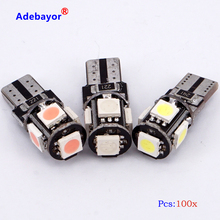 100 pcs T10 194 W5W 5 SMD 5050 led Lamp CANBUS Foutloos Interior Car 1 W Wedge Side Light lamp wit blauw rood roze ice blue