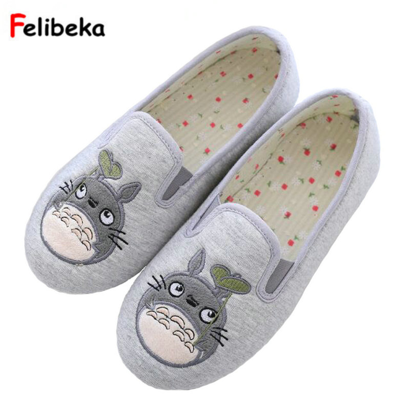 Totoro Cute Cat Cartoon Animal Women Couples Home Slipper For Indoor House Bedroom Flats Comfortable spring Cotton fabric Shoes plush flat indoor cartoon flock adult furry slippers fluffy winter fur animal shoes rihanna house home women adult slipper anime