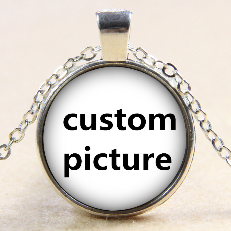 Hot sale fashion custom 25mm glass cabochon silver/Bronze/crystal pendant necklace 60cm DIY glass cabochon
