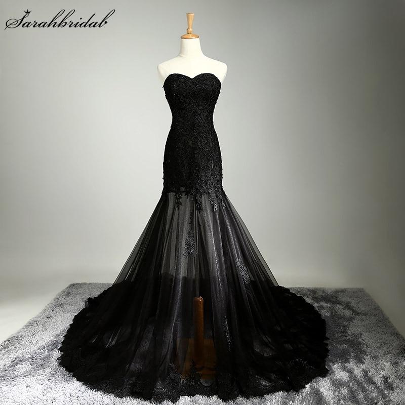 Сексуальна русалка Вечірні сукні Реальна фото Мила намистини Блестки Чорне мереживне вечірнє плаття Vestido De Festa Longo SLD310
