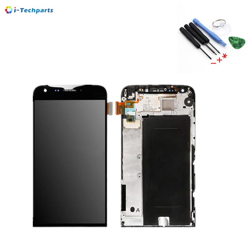 New Original For LG G5 LCD Display Screen + Touch Digitizer Assembly Replacement with Frame 5.3inch,Black White replacement original touch screen lcd display assembly framefor huawei ascend p7 freeshipping
