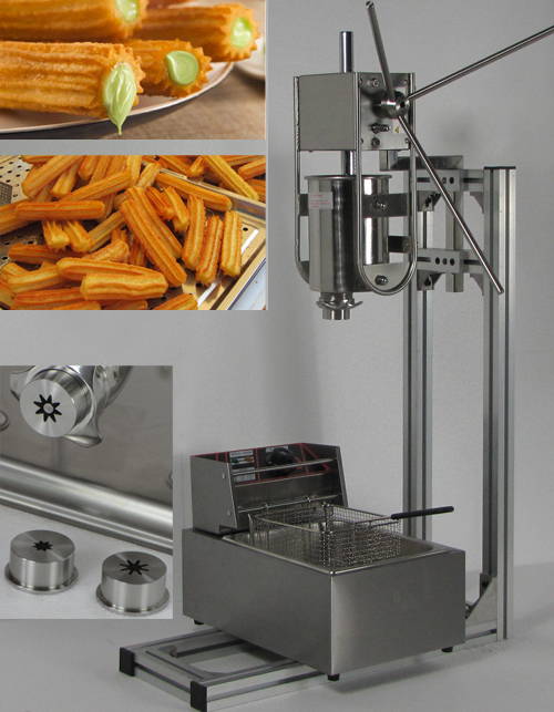 3L Capacity  Commerical  churros maker machine with 6L Gas Deep Fryer and three size churros models