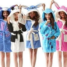 Kigurumi yetişkin kadın bornoz karikatür kapşonlu bornoz szlafrok hayvan sıcak sabahlık yumuşak kadın pijama elbiseler