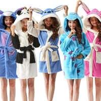 Printemps automne à capuche femmes peignoir dessin animé Robe de bain szlafrok Animal chaud Robe de chambre doux Kigurumi femmes vêtements de nuit Robes