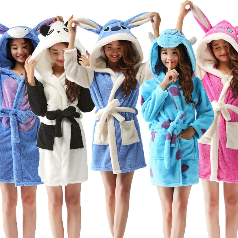 Spring Autumn Hooded Women Bathrobe Cartoon Bath Robe Szlafrok Animal Warm Dressing Gown Soft Kigurumi Women's Sleepwears Robes