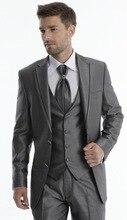 Custom Made Groom Tuxedo Grey Groomsmen Notch Lapel Wedding/Dinner Suits Best Man Bridegroom (Jacket+Pants+Tie+Vest) B236