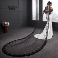 Black Bridal Veils Fashion voile mariage Lace Edge Two tie 2019 Real Images Tulle Long Wedding Veil with Metal Comb
