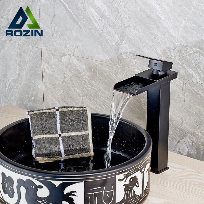 Deck Mounted Luxury Waterfall Square Bathroom Vessel Sink Faucet Single Lever Brass Black Wash Basin Mixer Taps стойка для акустики waterfall serio hurricane black