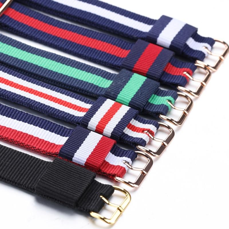 OLEVS 16mm 20mm Nylon Watchbands for DW Daniel Wellington Fabric Watch Band Glod Steel Buckle Strap Wrist Bracelet Multi Color