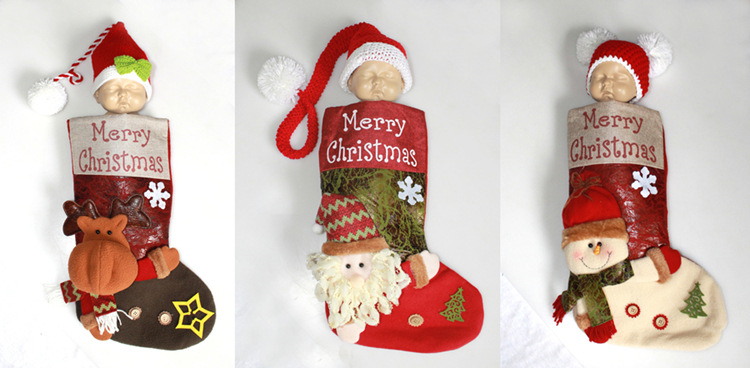 Christmas Stockings Cartoon.Us 10 84 22 Off Christmas Stocking Kits Baby Sleeping Bag Photo Props Costume Santa Snowman Reindeer Xmas Character 3d Holiday Gift Bag With Hat In