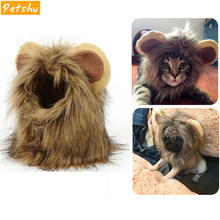 Petshy Pet Cat Costume Lions Hair Mane Ears Wig for Cats Dogs Halloween Christmas Party Dress Up Costume Cat Fancy Dress