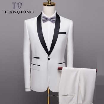 2019 Men\'s Wedding Suits for Men Shawl Collar 3 Pieces Slim Fit Luxury Burgundy Suits Mens White Tuxedo Jacket+Pants+vest QT996 - DISCOUNT ITEM  48 OFF Men\'s Clothing