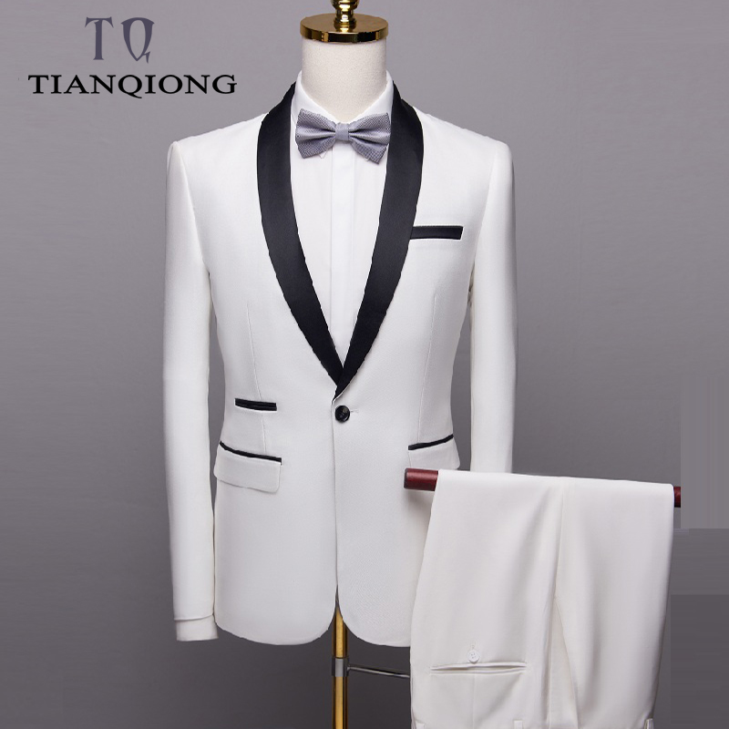 2019 męska garnitury ślubne dla mężczyzn szal kołnierz 3 sztuk Slim Fit luksusowe bordowy garnitury męskie biały smoking kurtka + spodnie + kamizelka QT996 w Garnitury od Odzież męska na  Grupa 1