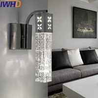 IWHD Crystal Wandlamp LED Wall Lamp For Bathroom Sconce Wall Light Modern Home Lighting Stairs Beside Fashion aluminum Lamparas