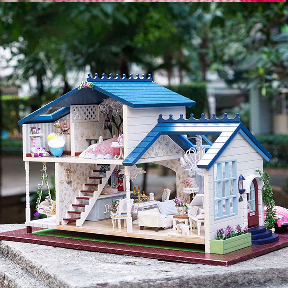 Music LED Light Miniature Doll House Provence Dollhouse DIY Kit Wooden  House Model Toy With Furniture Birthday Christmas Gifts In Doll Houses From  Toys ...