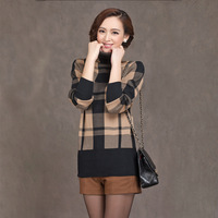 New Casual Plaid Brand Turtleneck Womens Sweaters And Lager Size Knitwear Fashion Women Pullovers Sweater Lady