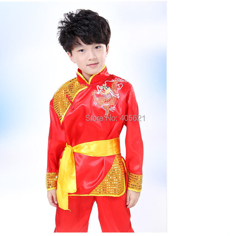 10set/lot Chinese Dragon Totem Tai Chi Kung Fu Martial Arts Children's Dancewear Performance Clothes Stage Costume 110cm-160cm Excellent In Cushion Effect