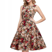 European And American Fashion Large Printed Swing Dress 2017 Sexy Cotton Round Neck Sleeveless Women Dress