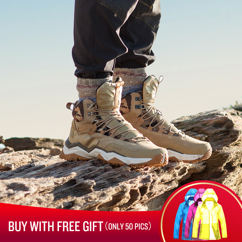 RAX Men Waterproof Hiking Shoes Antiskid Mountain Climbing Sneakers Woman Outdoor Trekking Shoes Lightweight Breatheable Leather