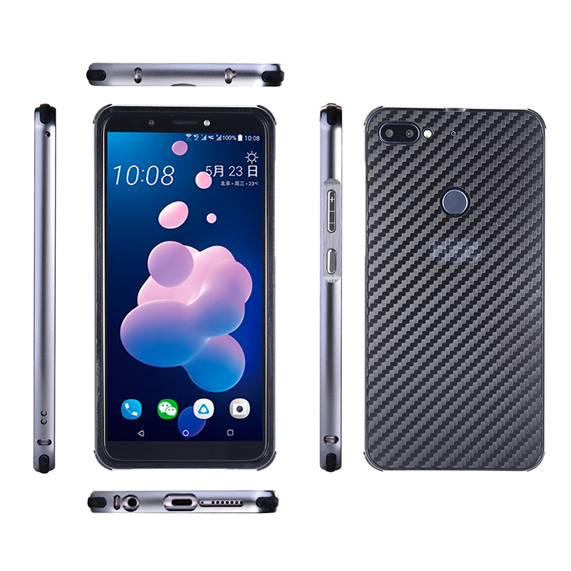 Luxury Metal Case For HTC Desire 12 Plus Aluminum Frame Carbon Fiber Back Cover For HTC Desire 12 Case Shockproof Shell Capa in Fitted Cases from Cellphones Telecommunications