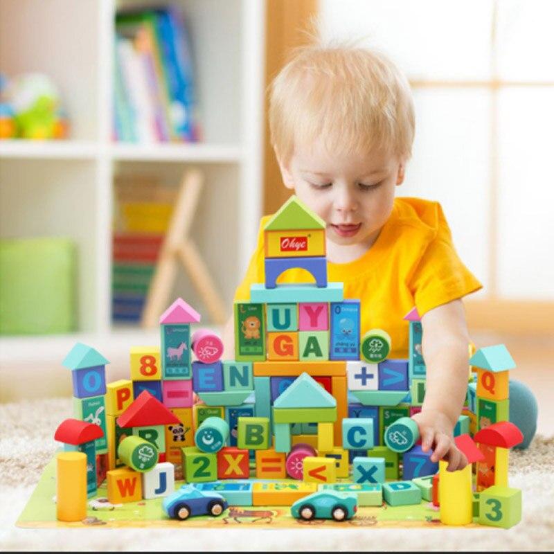 Sécurité enfants différentes couleurs multi-formes blocs de construction Figures briques jouets compatibles avec le bois de bloc sans bavure