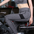 2016 Mulheres Calças De Cintura Alta Elástico Calças Exercício Push Up Hip Fitness Calças Rápida Secas Magro Leggings Cinza