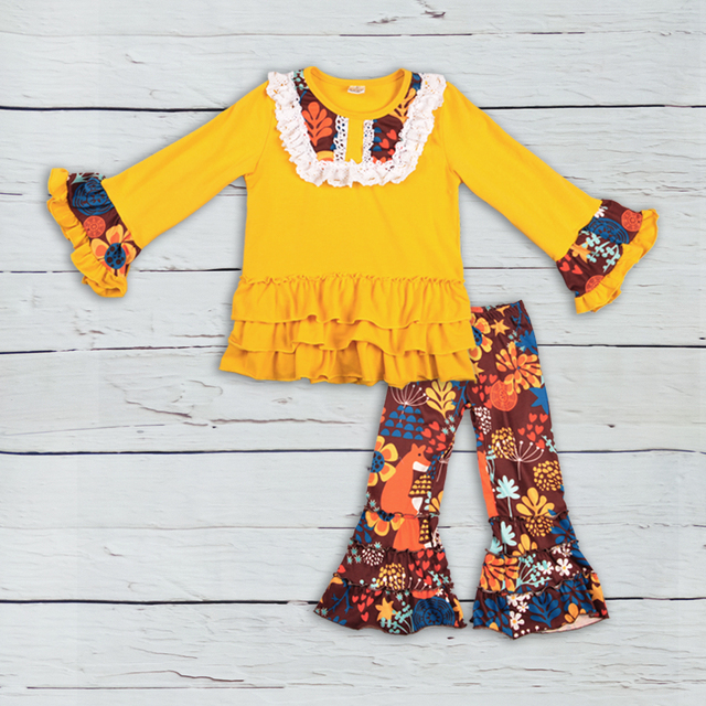 3c795d90d180 Bulk Wholesale Price CONICE New Arrival Baby Girl Clothes Yellow Pants  Ruffle Splice Print Dress Kids Fashion