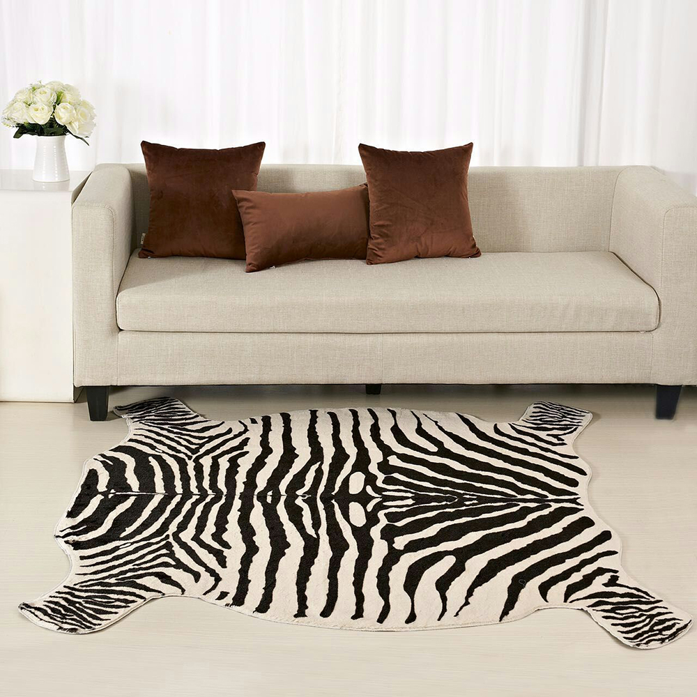 Enipate Zebra Cow Goat Printed <font><b>Rug</b></font> Cowhide Faux Skin <font><b>Leather</b></font> NonSlip Antiskid Mat Animal Print Carpet for Home 110X75CM/40*80CM image