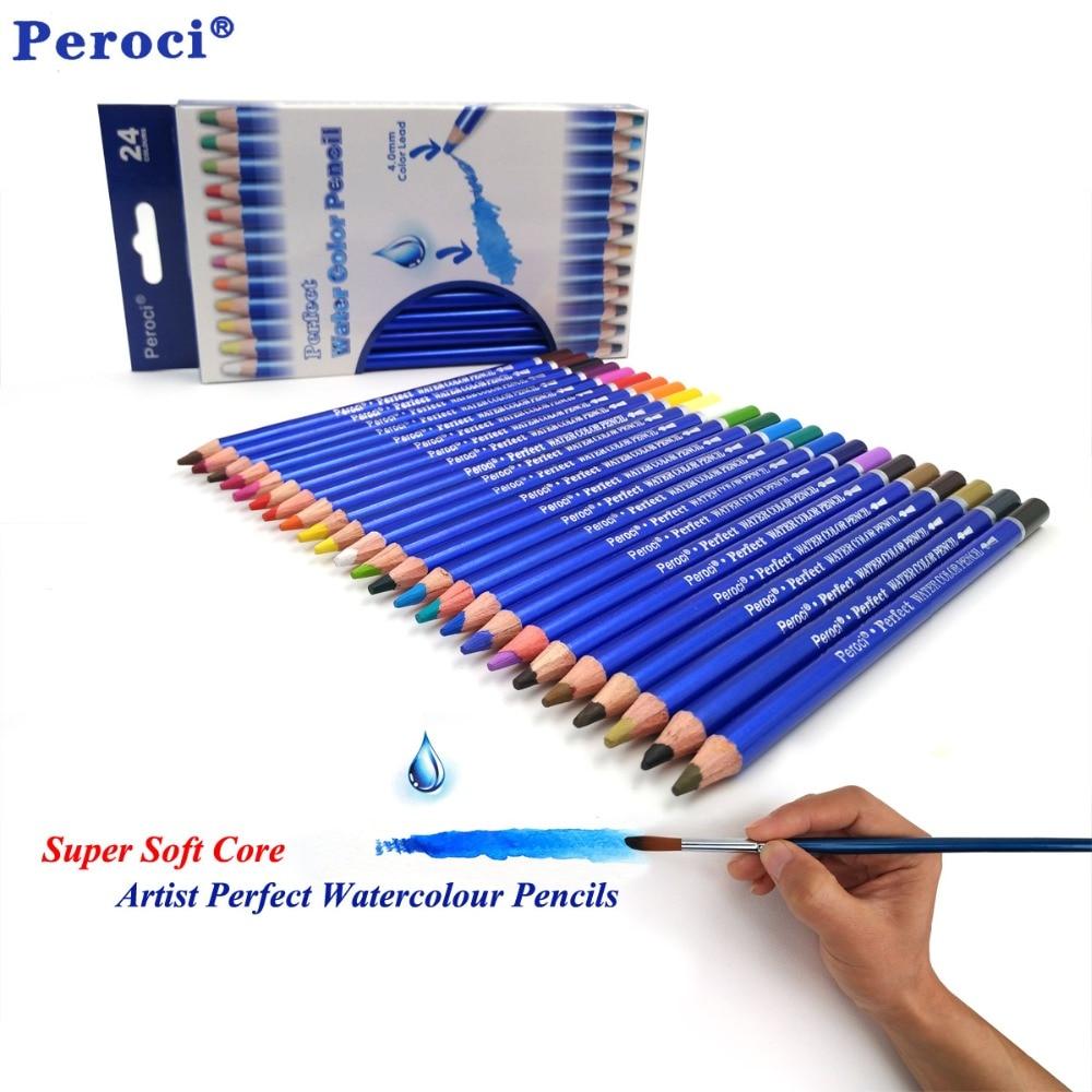 Premium Quality 24 Colored Pencils lapis de cor profissional Watercolor Water Soluble Colour Pencil Set for