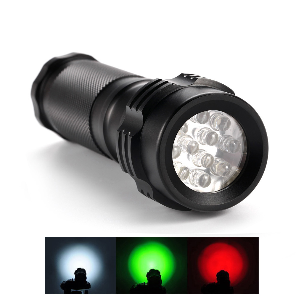 Portable Handheld Outdoor Flashlight White Green Red Tri-Color Light 11-LED 3-mode Flashlights Road Signal Torch Free Shipping