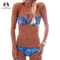 PLAVKY 2016 Sexy Retro Bandeau Bow Beach Wear Swim Bathing Suit Strapless Swimwear Women Brazilian Bikini