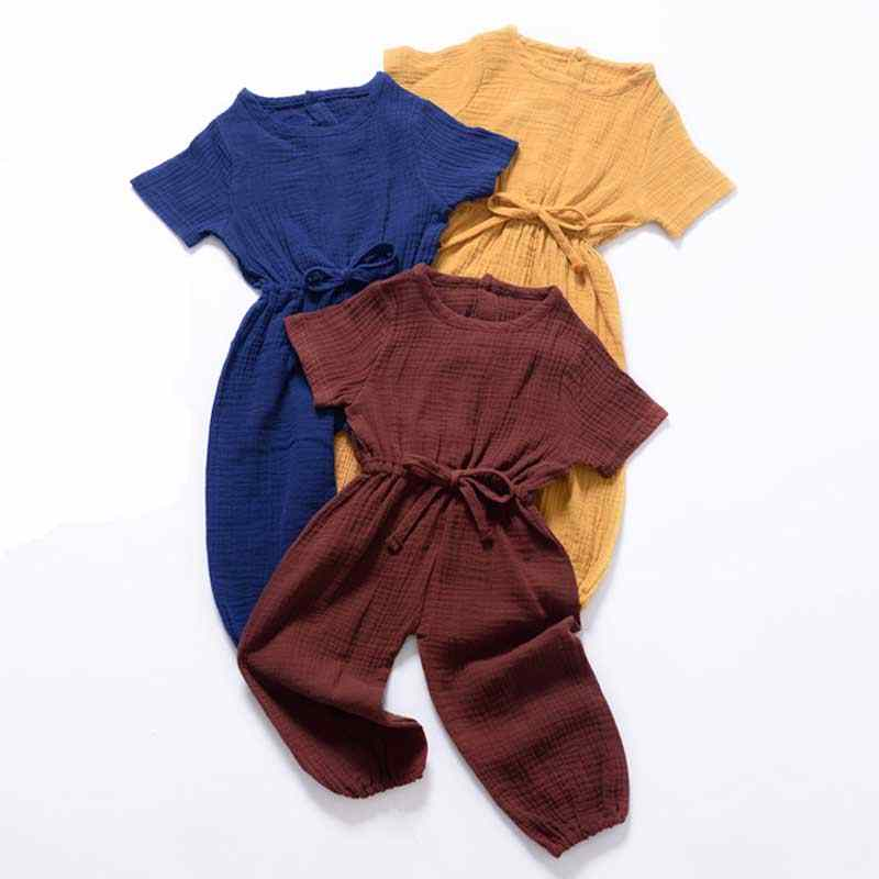 New Summer Kids Girls Clothing Sets Linen Cotton Sleeveless Solid Color Girls Jumpsuit Clothes Sets Outfits Children Suits