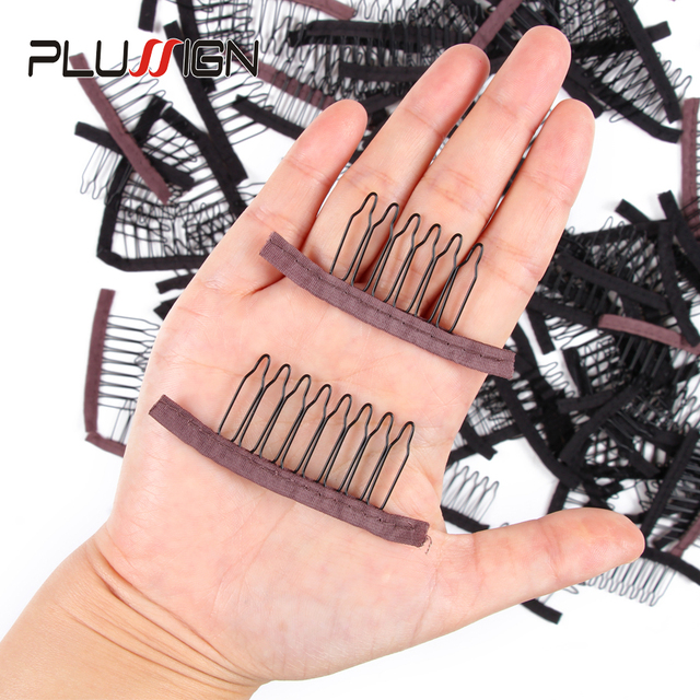 Stainless Steel Wig Combs For Wig Caps 12Pcs/Lot Factory Supply Wig Clips For Hair Extensions Best Clips For Wigs Big 8 Theeth