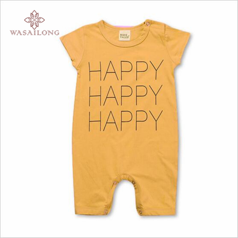 Wasailong boy girl baby Happy letters cotton inner jumpsuits with short sleeves in summer Baby climb clothes
