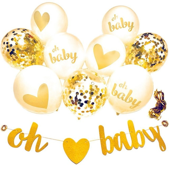12'' 10 pcs white gold Confetti balloons oh baby banner for baby shower decoration Pregnancy Birthday party supplies