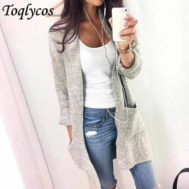 Autumn Winter Fashion Women Long Sleeve loose knitting cardigan sweater Women Knitted Female Cardigan pull femme  048