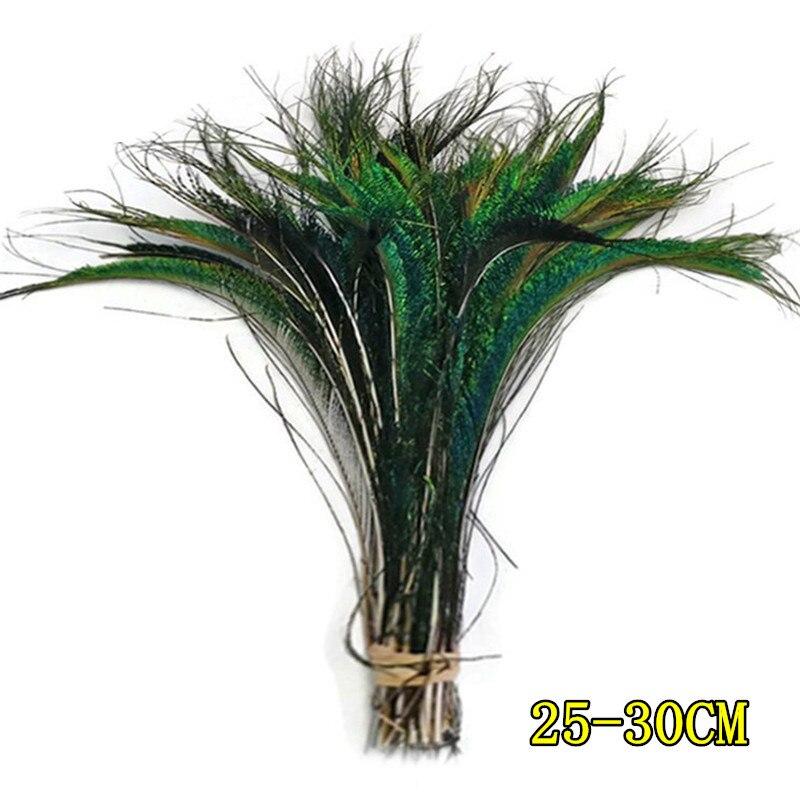 Натуральное павлинье перо перья фазана для рукоделия страусиные перья Изготовление ювелирных изделий рождественские праздничные украшения Плюмы - Цвет: 25-30 CM