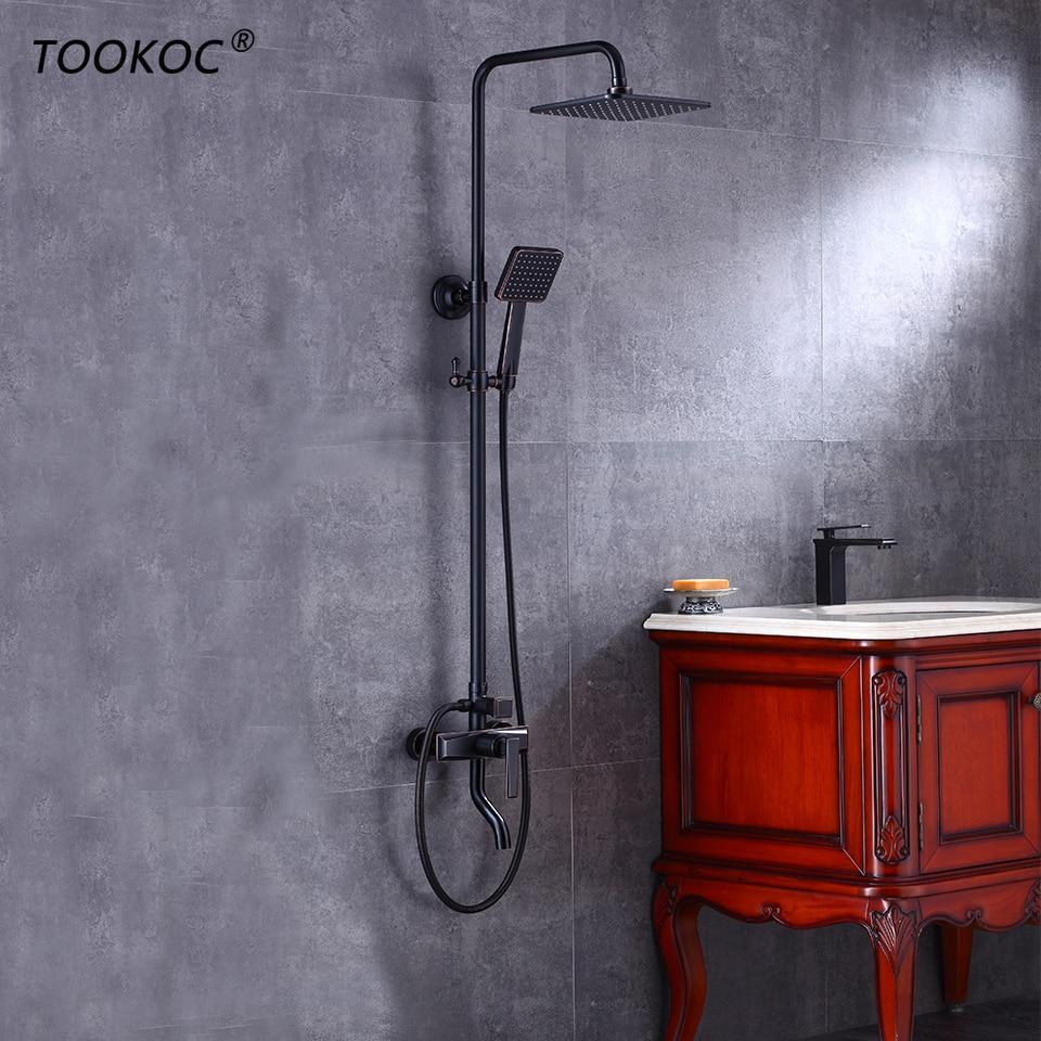 TOOKOC Bathroom Shower Mixer Faucet Rotate lifting Tub Spout Wall Rainfall Shower Head Handshower  Cold and Hot Water TOOKOC Bathroom Shower Mixer Faucet Rotate lifting Tub Spout Wall Rainfall Shower Head Handshower  Cold and Hot Water