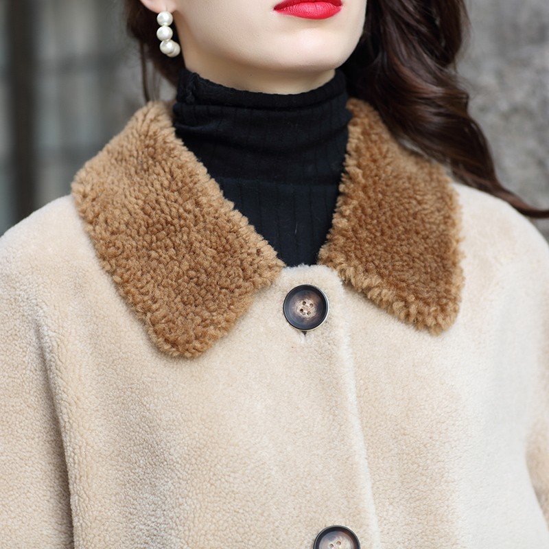 D'agneau Fourrure Long Laine Kaki Épais Manteaux Chaud Veste Manteau D'hiver Vestes Womenfur Des Femelle Moutons Z413 Tonte De Nouveau Mode Réel RwUgT8xWXq