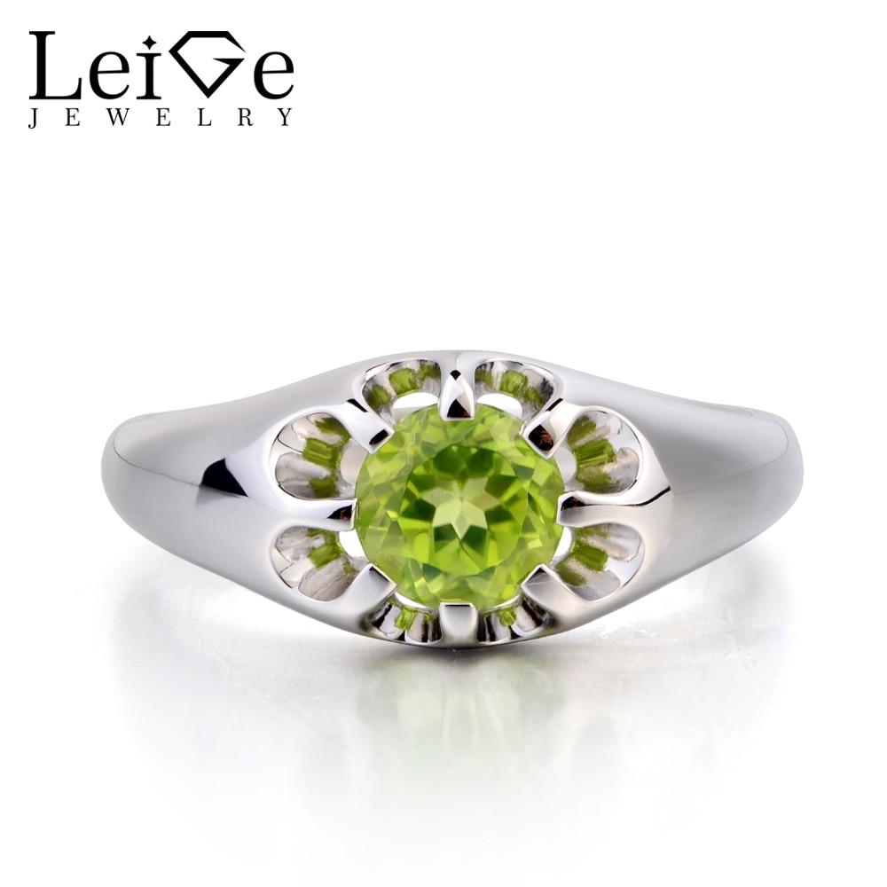 купить Leige Jewelry Natural Green Peridot Ring Promise Ring Round Cut Gemstone August Birthstone 925 Sterling Silver Ring for Girls по цене 6323.77 рублей
