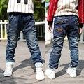 Vaqueros de las muchachas novedad sólido mediados Loose niños encienden los pantalones vaqueros de los niños corrió Tigor 2016 nuevos niños de pantalones chico virgen grande pantalones B136