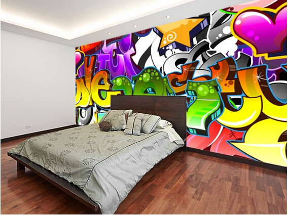 Graffiti Slaapkamer Muur : Gratis verzending custom d behang graffiti muur art voor