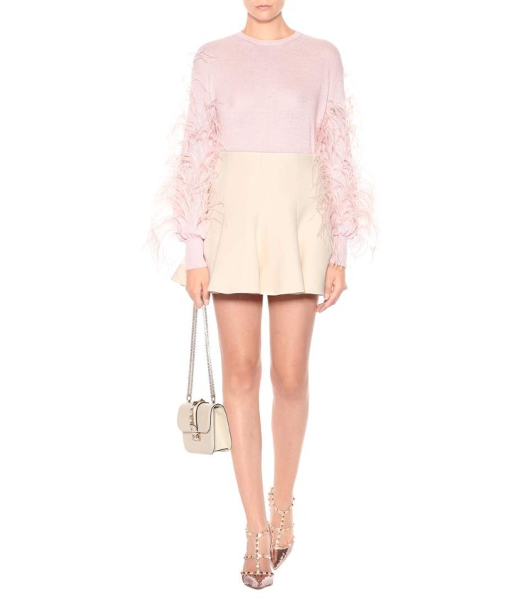 Flame Sweater Feather-Decoration Pink Turtleneck Long-Sleeve Thin Fashionable Women New