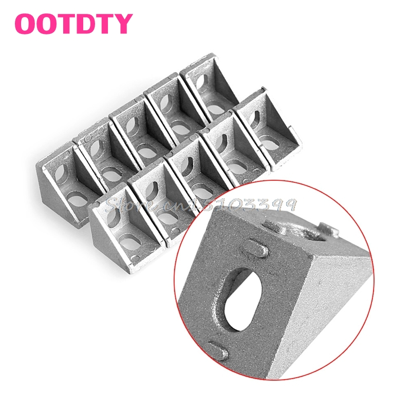 10Pcs Aluminum Brace Corner Joint Right Angle Bracket Joint 20x20mm L Shape G08 Drop ship ned 10pcs 20x20mm practical stainless steel corner brackets joint fastening right angle thickened brackets for furniture home