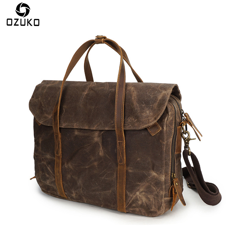OZUKO Men Vintage Canvas Messenger bag crazy horse leather Handbag Men Shoulder Bag Business Casual Crossbody Canvas Travel Bag augur men s messenger bag multifunction canvas leather crossbody bag men military army vintage large shoulder bag travel bags